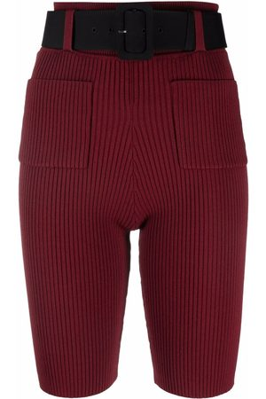 Self-Portrait Ribbed-knit belted shorts