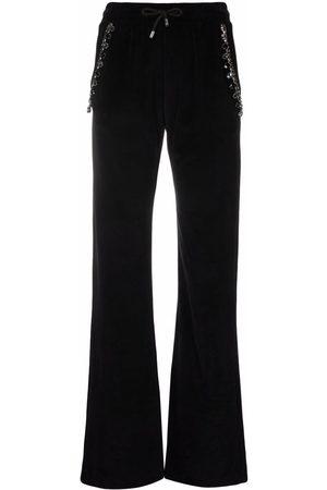 Philipp Plein Women Pants - Crystal cable detail velvet track pants