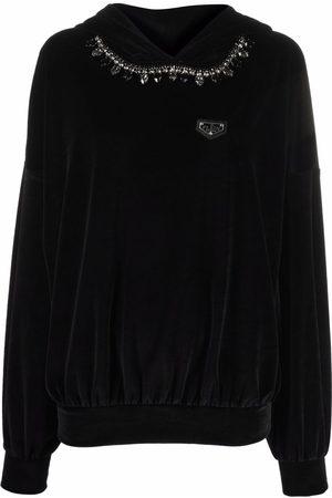 Philipp Plein Crystal chain detail velvet hoodie