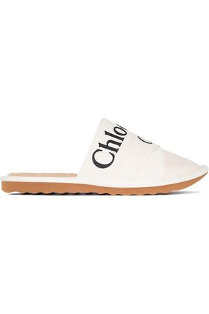Chloé Women Slippers - CHLOE WOODY SLPR MLE LOGO FRNT LTHR CNVS