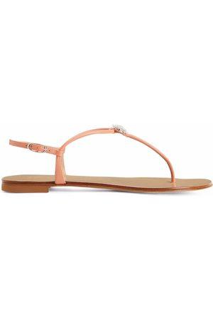 Giuseppe Zanotti Floral-applique leather flip-flops