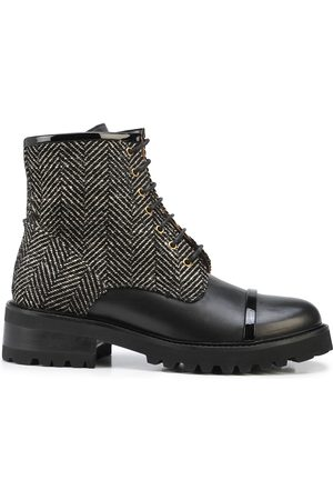 MALONE SOULIERS Women Lace-up Boots - Herringbone pattern lace-up boots