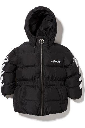 Off-White Kids Diag zip-up puffer jacket