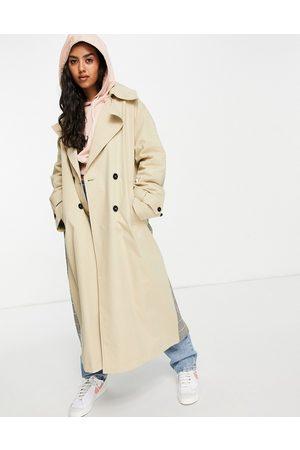 ASOS Check spliced trench coat-Multi