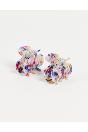 My Accessories London multipack x2 hair claw clips in tortoiseshell resin