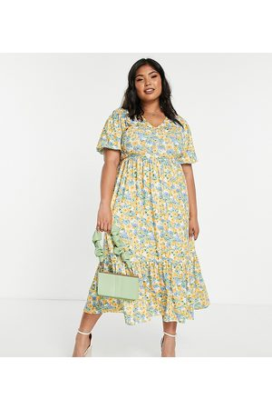 In The Style X Stacey Solomon tiered midi dress in yellow floral-Multi