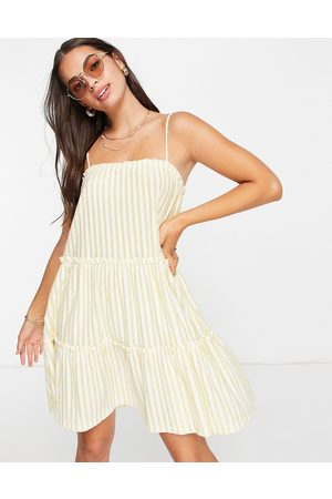 ASOS Strappy sundress with tiered frill detail in buttermilk stripe