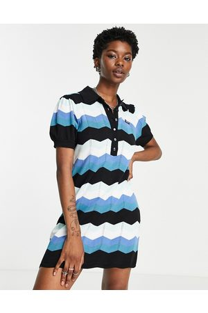 Obey Knitted polo dress in retro stripe