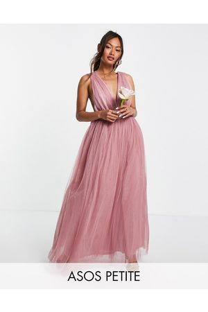 ASOS Petite tulle plunge maxi dress dress with bow back detail in rose