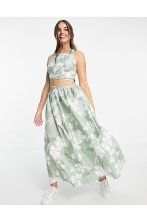 ASOS Cotton poplin tie wrap around midi sundress in tropical print-Multi
