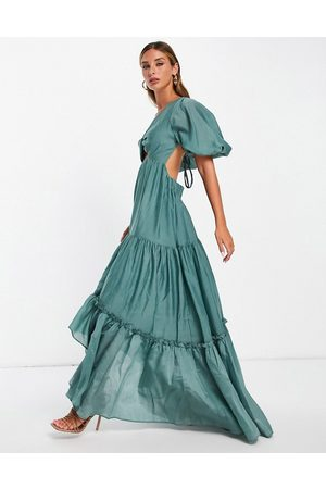 ASOS Puff sleeve tiered voile maxi dress with lace up back in sage