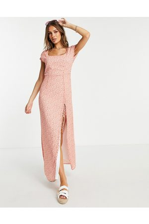 NA-KD X Pamela recycled floral print button detail maxi dress in coral