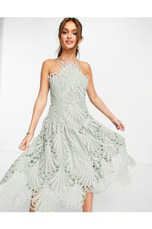 ASOS Cut work lace pinny midi dress