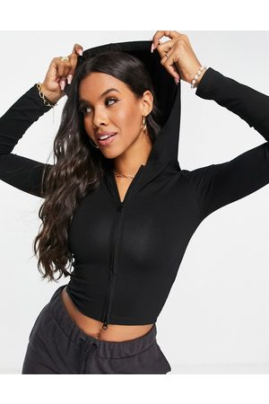 ASOS Fitted hooded top with zip in