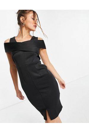 Closet Cross shoulder cut out pencil dress in