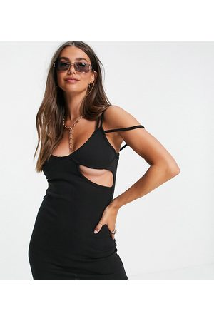 Missguided Strappy ribbed mini dress in