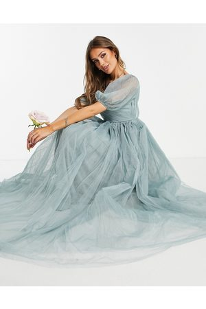 ASOS Blouson off shoulder tulle puff sleeve maxi dress in dusty sage