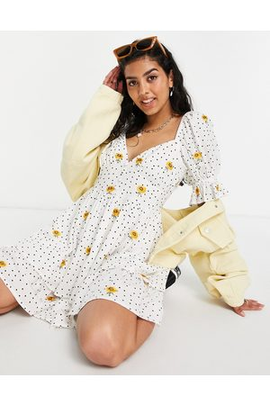 ASOS Double layer babydoll mini dress in spot print with sunflower embroidery-Multi