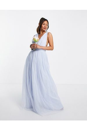 ASOS Tulle plunge maxi dress dress with bow back detail in powder