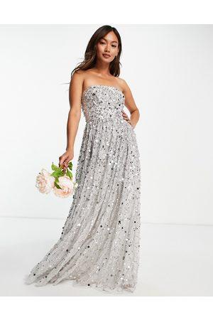 Maya Bridesmaid maxi bandeau wedding dress in all over 3D soft sequins