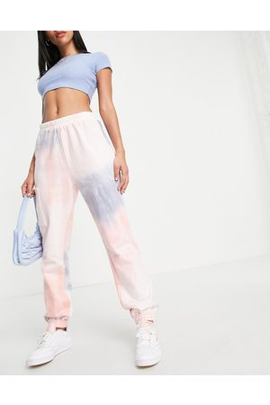 Lost Ink Tie dye jogger with pocket detail in pink and grey-Multi