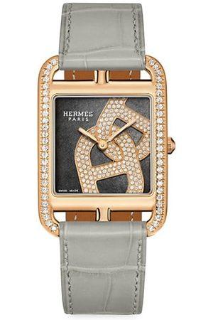 Hermès Cape Cod Chain D'Ancre Rose Gold, Diamond & Alligator Leather Strap Watch