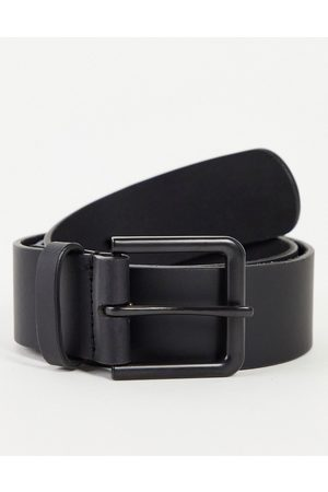 ASOS Leather wide belt in with matte buckle