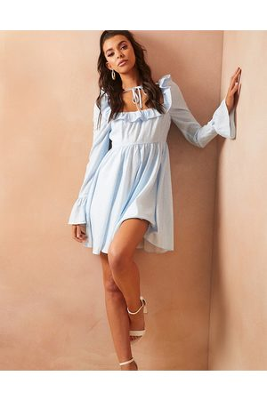 In The Style Women Printed Dresses - X Lorna Luxe puff sleeve tie neck smock dress in blue ditsy print-Multi