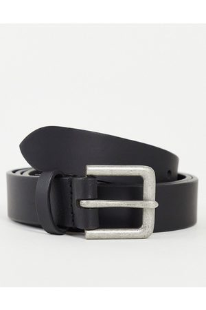 ASOS Men Belts - Leather slim belt in with silver buckle