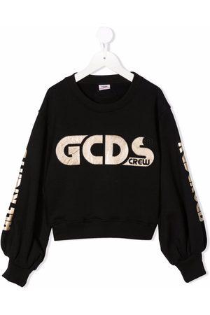 GCDS Girls Sweatshirts - Logo-embroidered cotton sweatshirt