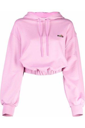 Msgm Cropped logo-print hoodie