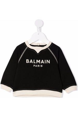 Balmain Baby Sweatshirts - Logo-print cotton sweatshirt
