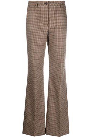 P.a.r.o.s.h. Women Wide Leg Pants - Micro-gingham print trousers