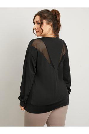YOINS Plus Size Crew Neck Mesh Patchwork Design Long Sleeves Tee