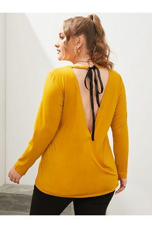 YOINS Women Long Sleeve - Plus Size Backless Design Tie-up Design Long Sleeves Tee