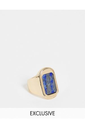Reclaimed Men Rings - Inspired signet ring with blue stone in