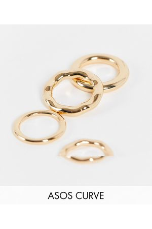 ASOS Women Rings - ASOS DESIGN Curve pack of 4 rings in tube design in tone