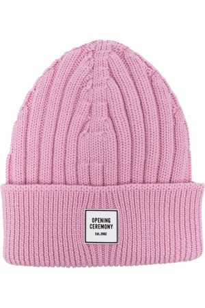 Opening Ceremony Women Beanies - Logo-patch ribbed-knit wool beanie