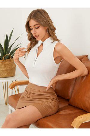 YOINS Zip Front Design Mock Neck Sleeveless Knitwear