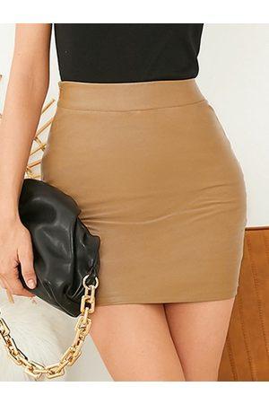 YOINS Faux Leather High Waist Mini Skirt