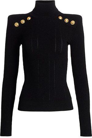 Balmain Women Jumpers - Padded Shoulder Turtleneck Sweater