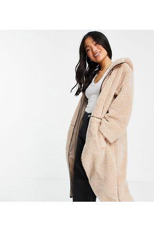 ASOS Women Fleece Jackets - ASOS DESIGN Petite fleece coat with contrast stitching in camel