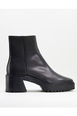ASOS Chunky heeled square toe chelsea boot in leather