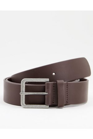 ASOS Men Belts - Leather wide belt in with antique silver buckle