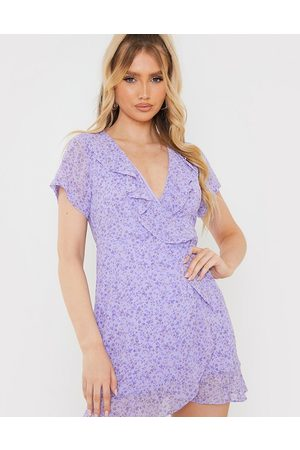 In The Style Women Printed Dresses - X Olivia Bowen frill detail wrap mini dress in lilac floral print-Multi