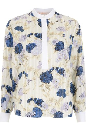 Tory Burch Women Tunics - FLORAL TUNIC TOP-LAVENDER MIXED