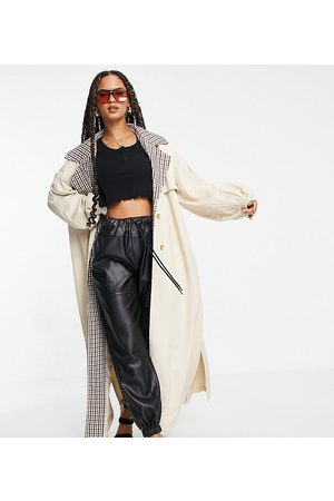 Missguided Women Trench Coats - Check collar balloon sleeve trench coat in sand-Neutral