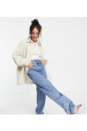 COLLUSION Women Jackets - Cotton longline spliced shacket-Neutral