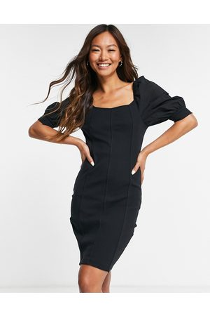 VERO MODA Women Bodycon Dresses - Ribbed bodycon dress with seam detail and puff sleeves in