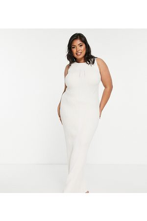 Missguided Women Casual Dresses - Dry handle ribbed maxi dress in cream